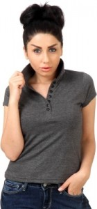 womens charcoal milnage collar t shirt
